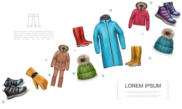 Реалистичный шаблон зимней и осенней одежды с курткой, брюками, кроссовками, перчаткой, вязаной шапкой, резиновыми сапогами, пальто