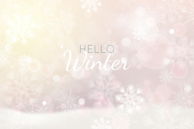Realistic winter bokeh background