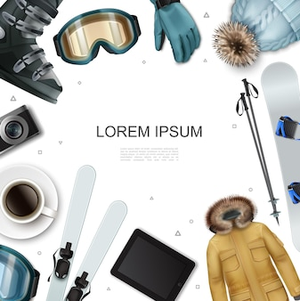 Realistic winter recreation template with jacket hat tablet coffee cup camera ski sticks snowboarding glasses