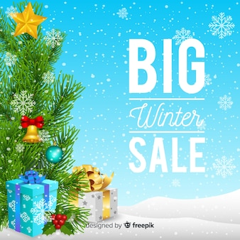 Realistic winter sale background