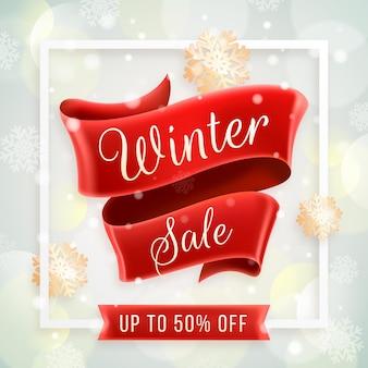 Realistic winter sale banner
