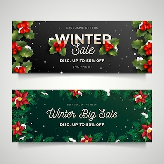 Collezione di banner di vendita invernale realistica
