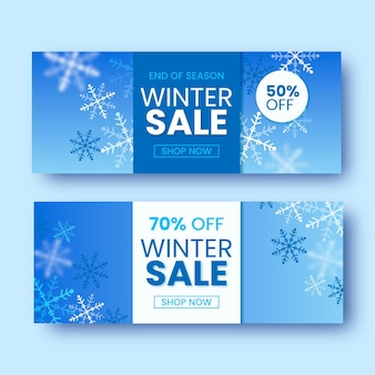 Realistic winter sale banners template
