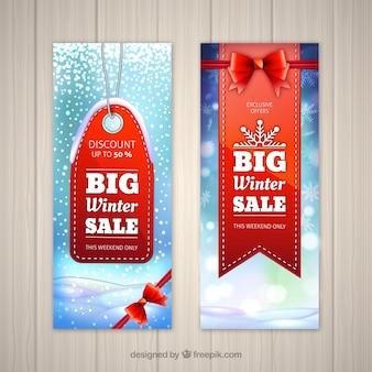 Banner di vendita invernale realistico