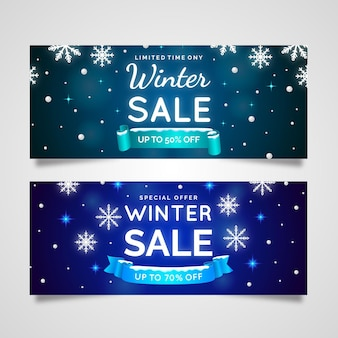 Realistic winter sale banners