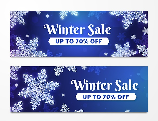 Banner di vendita invernale realistici