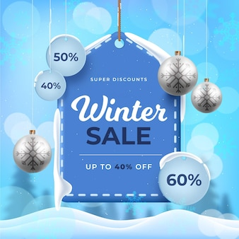 Realistic winter sale and christmas balls