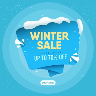 Realistic winter sale concept  template.