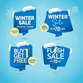 Realistic winter sale concept  template.
