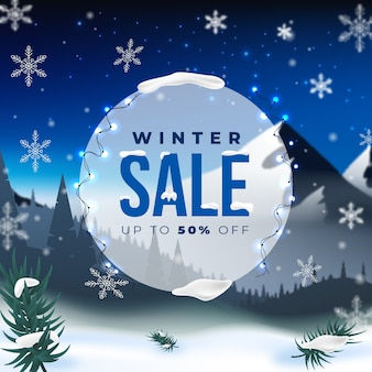Realistic winter sale concept