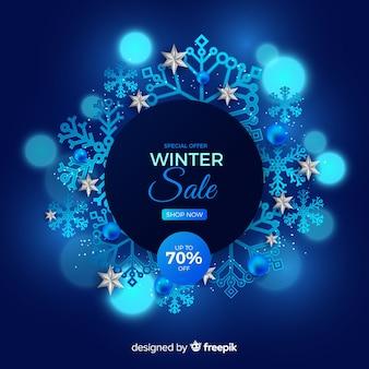 Realistic winter sale concept