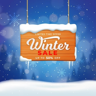 Realistic winter sale promotion