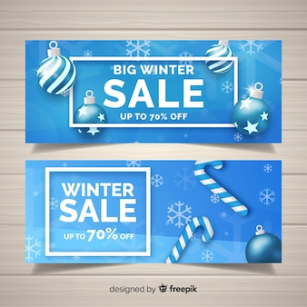Realistic winter sales banners