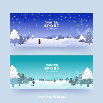 Realistic winter sport banners