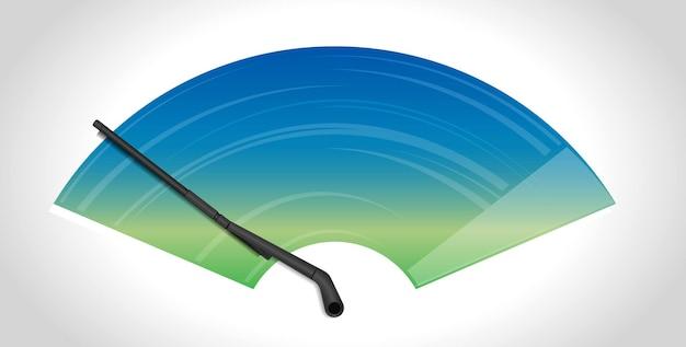 Realistic wiper cleaning car windscreen wipe glass wiper cleans the winshield