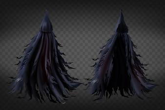 Realistic witch costume with hood, black ragged cape for Halloween party