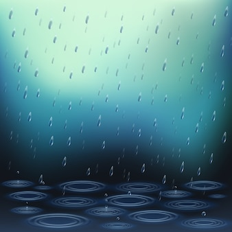 Realistic with falling rain drops and ripples on water vector illustration