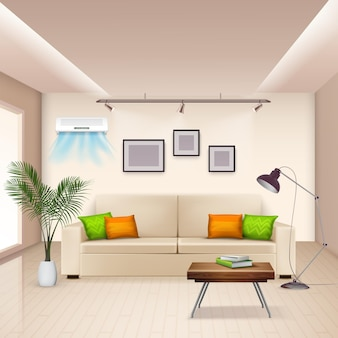 Realistic  with furnished room and modern air conditioner on wall