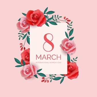 Realistic women's day 8th march with roses