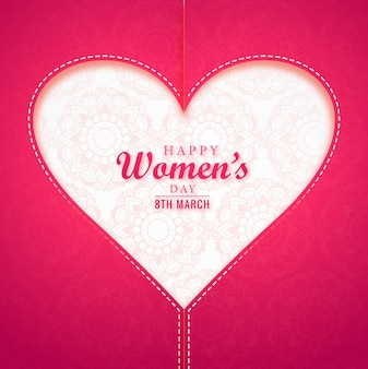 Realistic women's day greeting card with heart