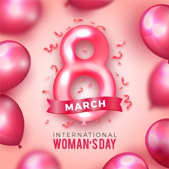 Realistic women's day with balloons