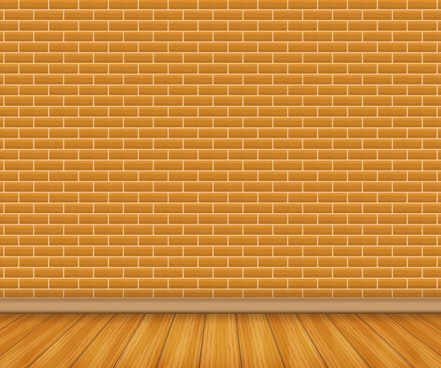 Realistic wood floor and white brick
