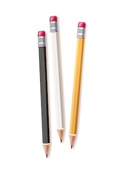 Realistic wood pencil set rubber eraser
