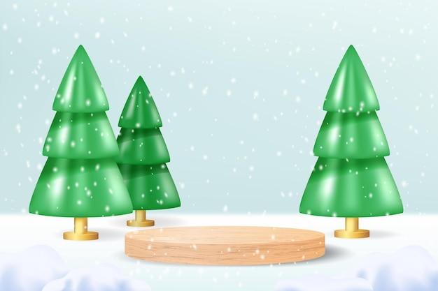 クリスマスツリーと青い雪の背景にリアルな木の表彰台。製品ショーのための空白のシリンダー台座と冬のクリスマスパステル3d漫画シーン。現代の創造的なプラットフォームテンプレート。