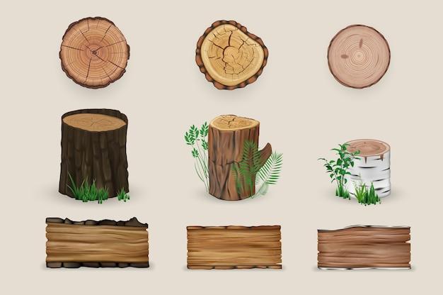 リアルなウッドセットコレクション。リアリズムスタイルのイラストは、白い背景に木製の切断の切り株と織り目加工の板を描いた。