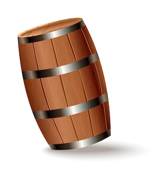 Realistic wooden barrel. isolated oak cask with timber body with iron rings on white background. vector realistic keg for whiskey, rum, cognac, wine, beer, kvass or other drinks
