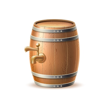 Realistic wooden barrel keg or cask with tap