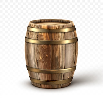 Realistic wooden barrel for wine or beer