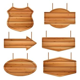 リアルな木の板。木目調のビンテージラベルまたはバッジが付いたバナー。イラスト木枠リアル、木製テクスチャ看板