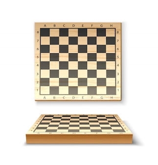 Realistic wooden chessboard for chess game