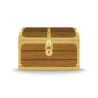 Realistic wooden chest illustration