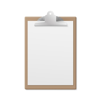 Realistic wooden clipboard with white empty page isolated on white