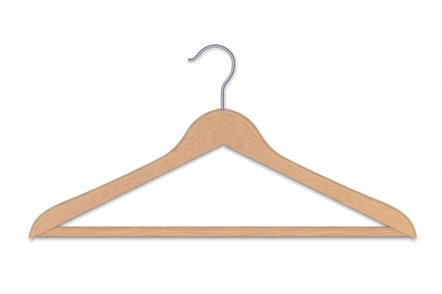 Realistic wooden clothes hanger isolated vector illustration