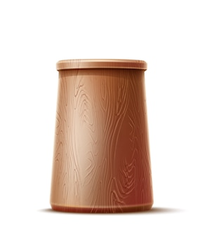 질감 된 표면 가진 현실적인 나무 컵