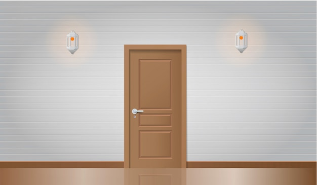 Realistic wooden door and wall with lamps