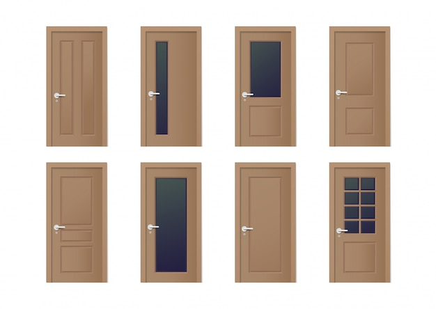 Realistic wooden doors design set in different style