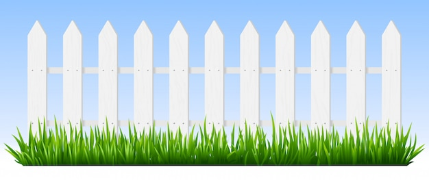 Realistic wooden fence. green grass on white wooden picket fence, sunshine garden background, fresh plants border hedge  illustration. rural spring landscape horizontal background with fencing