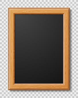 Realistic wooden frame for photo or pictures with shadow