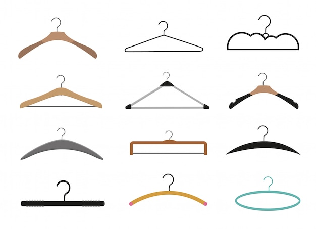 Realistic wooden hangers. for coats, sweaters, dresses, skirts, pants