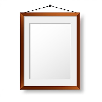 Realistic wooden photo frame  . wall picture design
