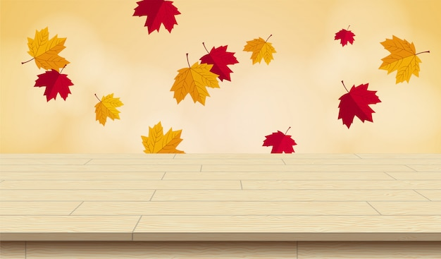 Realistic wooden picnic table for autumn vector illustration.