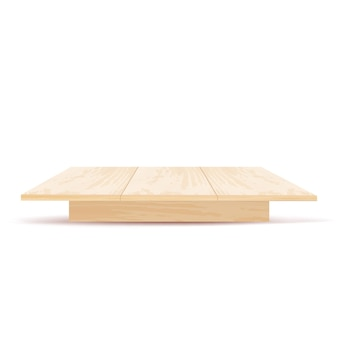 Realistic wooden table with front view isolated on white background