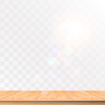 透明な背景に分離された上面図のリアルな木製テーブル