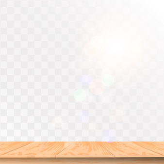 Realistic wooden table with top view isolated on transparent background