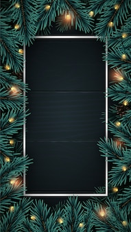 Realistic wooden vertical background with christmas tree branches frame.