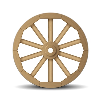 Realistic wooden wheel for cart old and retro isolated on white